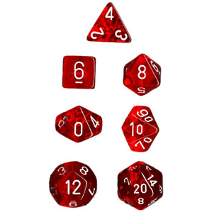 Dice 7-set Translucent (16mm) 23074 Red / White