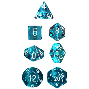 Dice 7-set Translucent (16mm) 23085 Teal / White