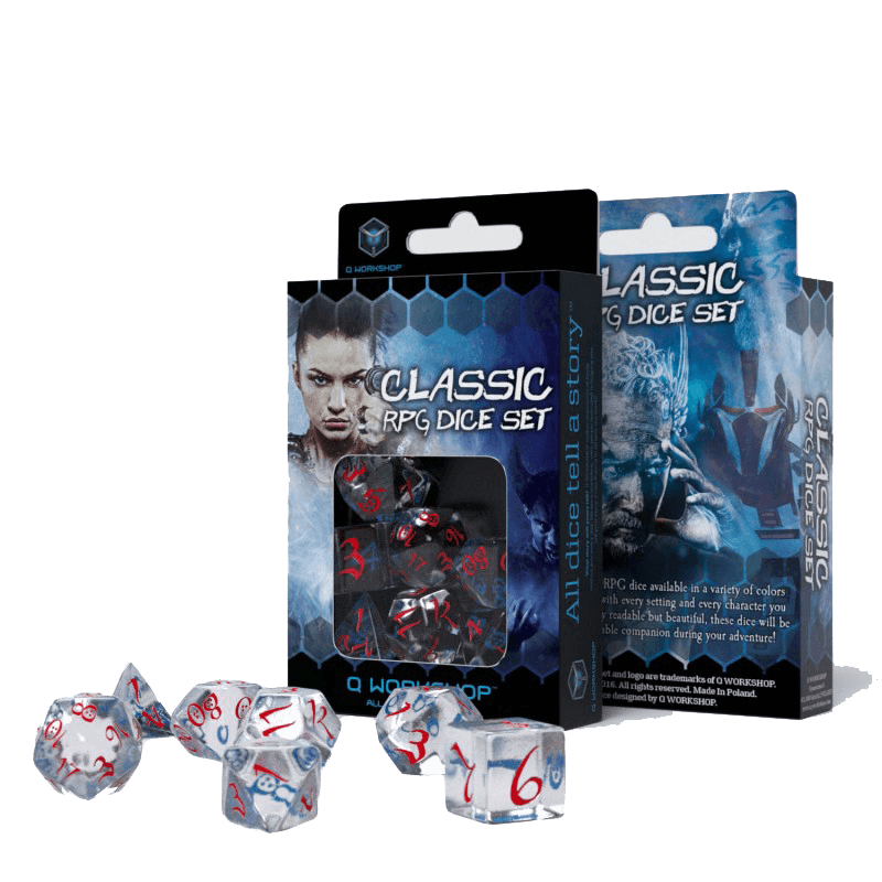 Dice 7-set Classic (16mm) Transparent Blue / Red