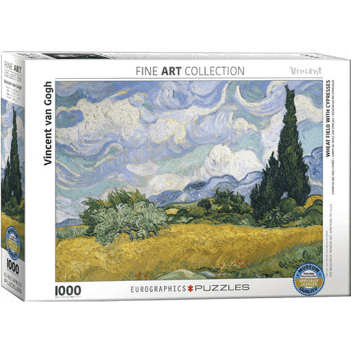 Puzzle (1000pc) Fine Art : Wheat Field with Cypresses