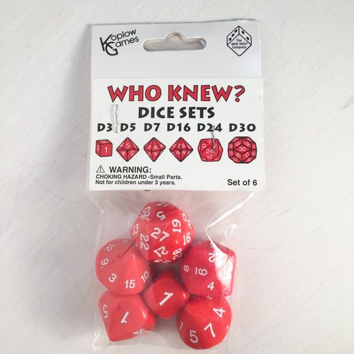 Dice Set Who Knew? (6ct) Red / White