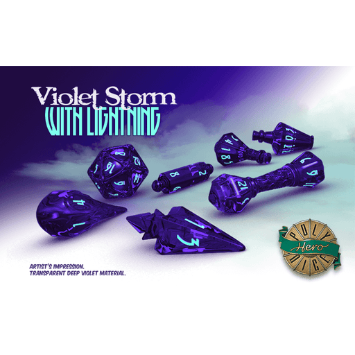Wizard Dice 7-set Violet Storm w/ Lightning