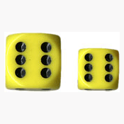 Dice Set 12d6 Opaque (16mm) 25602 Yellow / Black