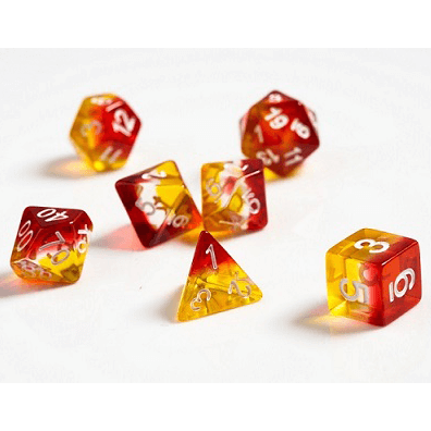 Dice 7-set Translucent (16mm) Yellow / Red