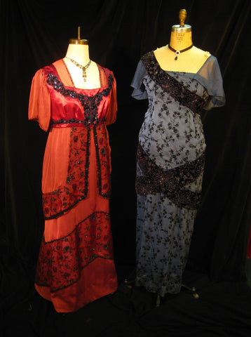 1910s Elegant Evening Gown and Blue Dinner Gown