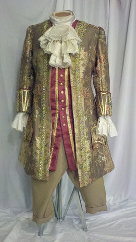 Gold Brocade Court Coat with Vest & Jabot shirt.