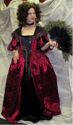 Black and Red Satin Cavalier Gown