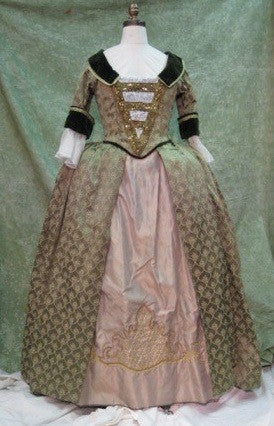 Colonial Green Velvet and Gold Embroidered Court Dress