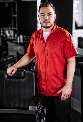 Barber Shop Uniform, Red Barber Jacket | Barber Strong for Professional Barbers