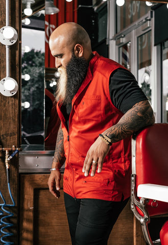 Barber Vest | Red Barber Vest for Barber Shops | Barbering Uniforms by Barber Strong