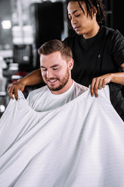 White Pinstripe Barber Cape | Professional Barber Supply Styling Cape | Barber Strong