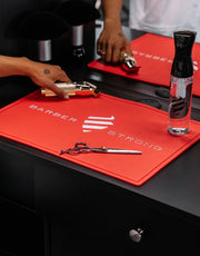 Red Barber Mat | Barber Strong Barber Shop Tools