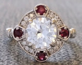 The Charlotte (Sapphire/Ruby/Emerald and Diamond halo)