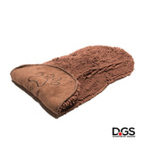 Two hand pocket design for easy controlling and managing your dog! The Dirty Dog Shammy by Dog Gone Smart. Super Absorbent Microfiber Towel. Quickly Dry your Dog! Brown Dirty Dog Shammy.
