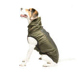 hexagon meteor nanoslim, dog raincoat, nano treated coat, stain resistant dog jacket, reflective dog jacket, dog raincoat, olive green raincoat