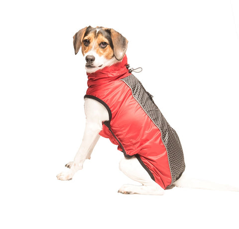 hexagon meteor nanoslim, dog raincoat, nano treated coat, stain resistant dog jacket, reflective dog jacket, dog raincoat, red chili raincoat