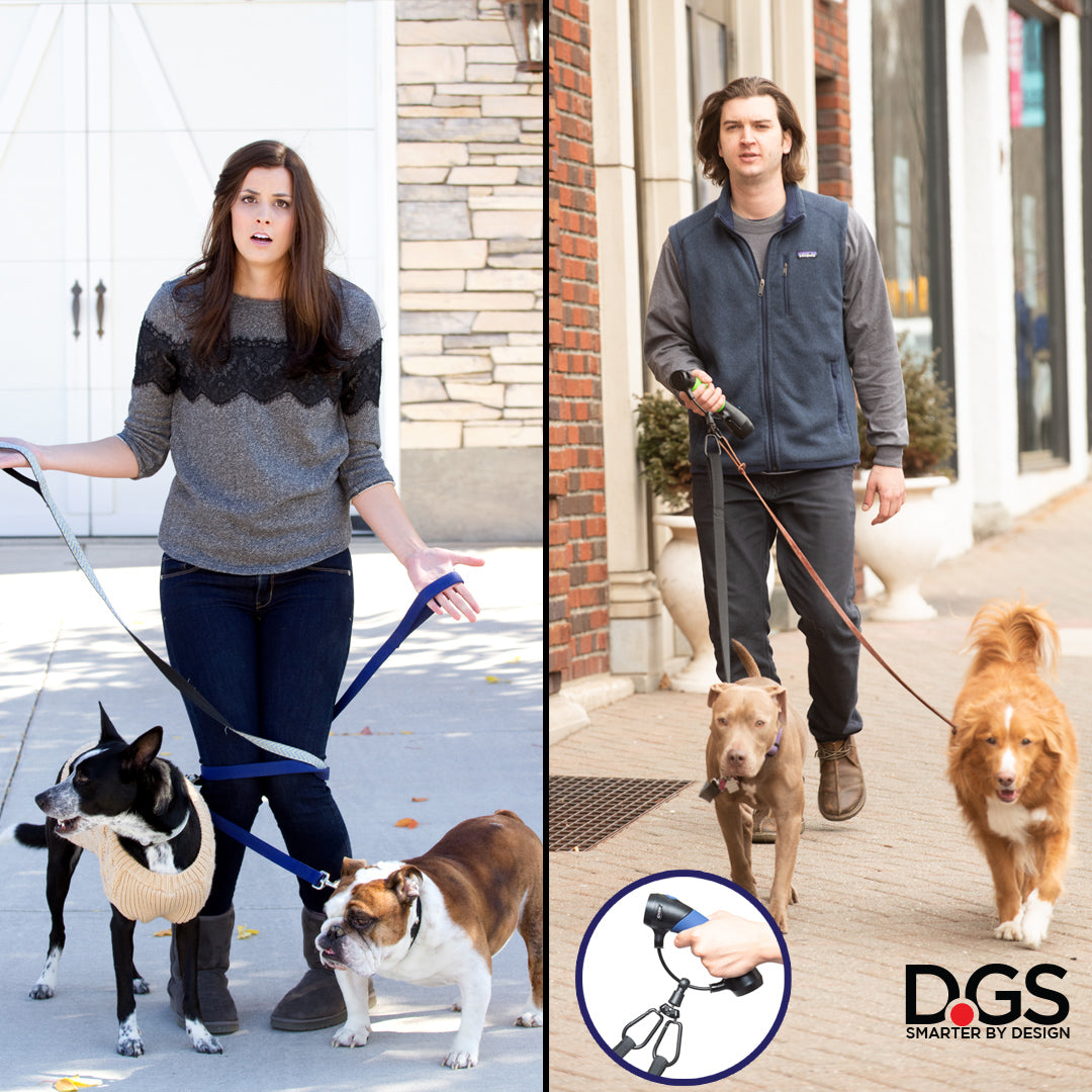 Walk two dogs tangle free in one hand. The Gismo leash holder + systems with the dual carabiner lets you easily walk two dogs in one hand.