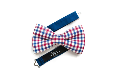 Red white and blue handmade bow tie