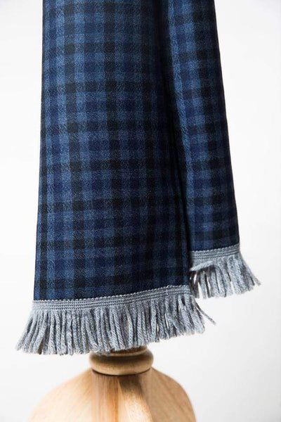 Cashmere and Wool Scarf with Navy and Black checks