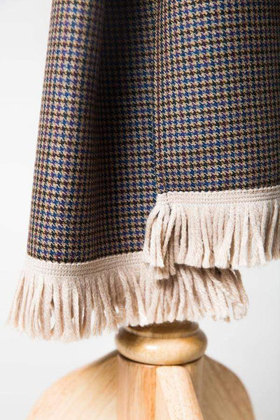 Houndstooth Fawn Mix Wool Scarf-Lingo Luxe Bespoke