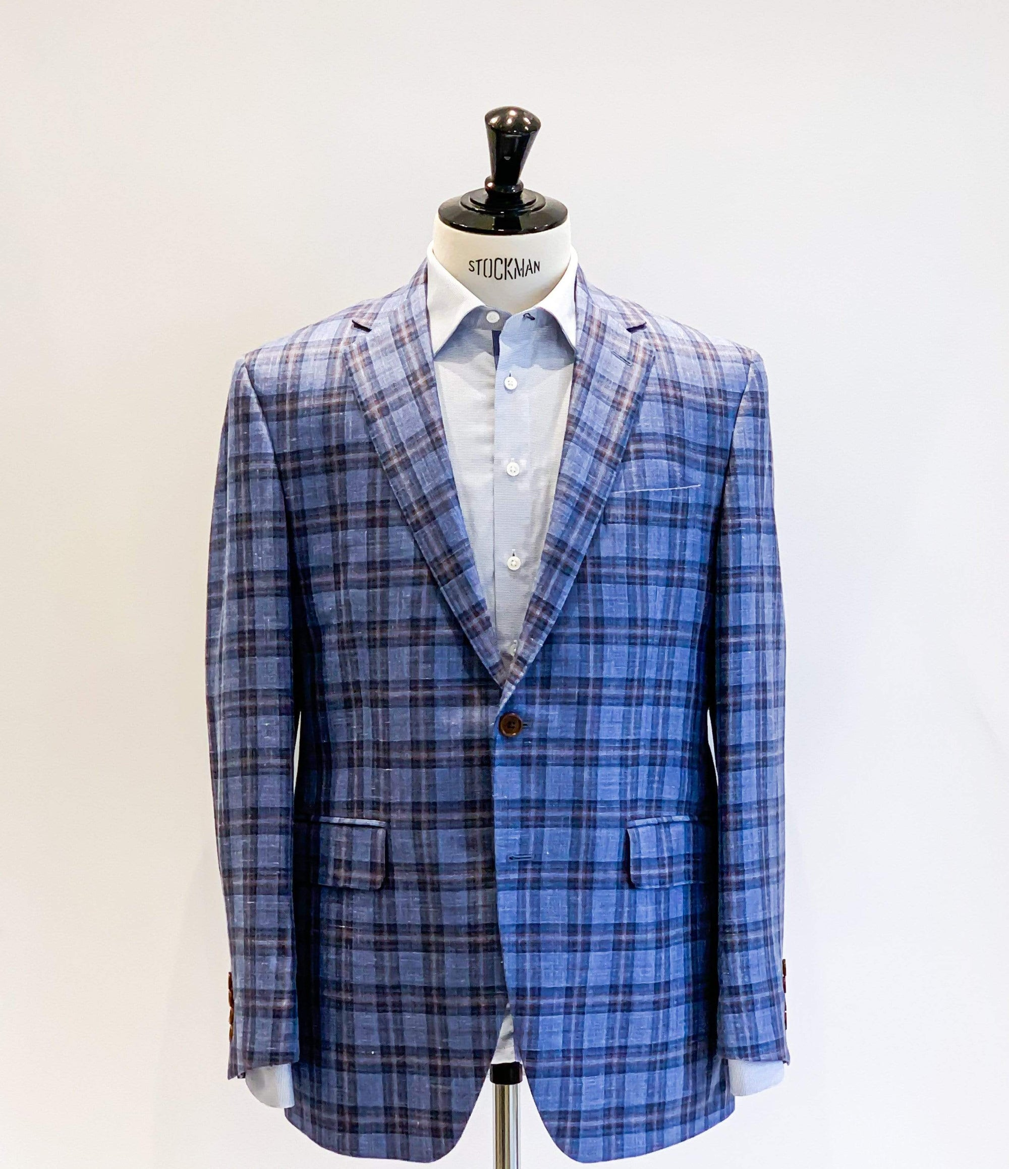 Loro Piana Blue/Rust Check Sports Jacket