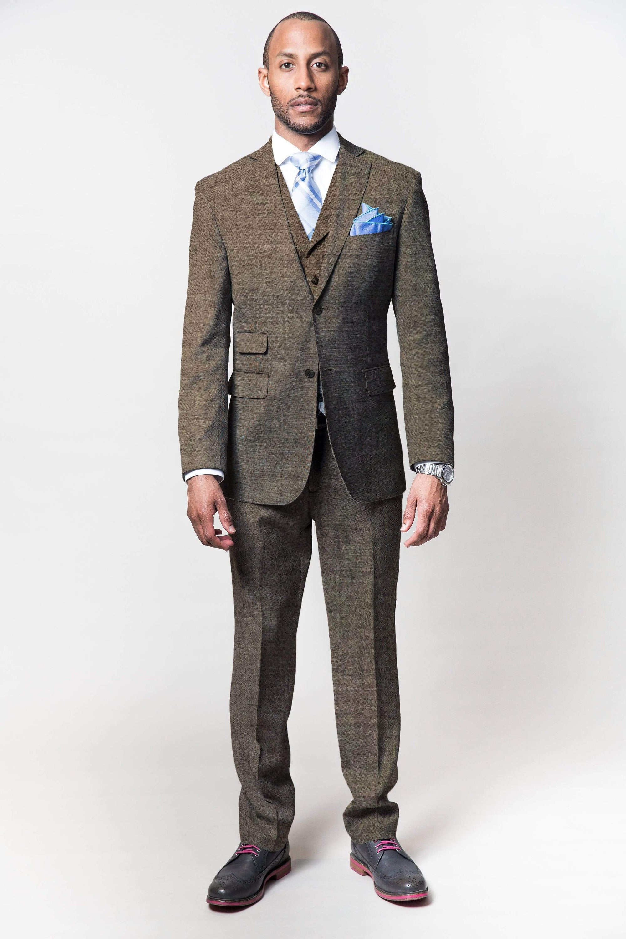 MEN'S 2 PIECE BESPOKE SUIT | LINGO LUXE BROWN FLANNEL-Lingo Luxe Bespoke