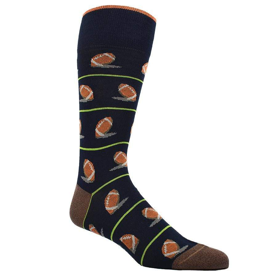 Unique socks. They are brown background with a one of a kind all over pattern of footballs on them.