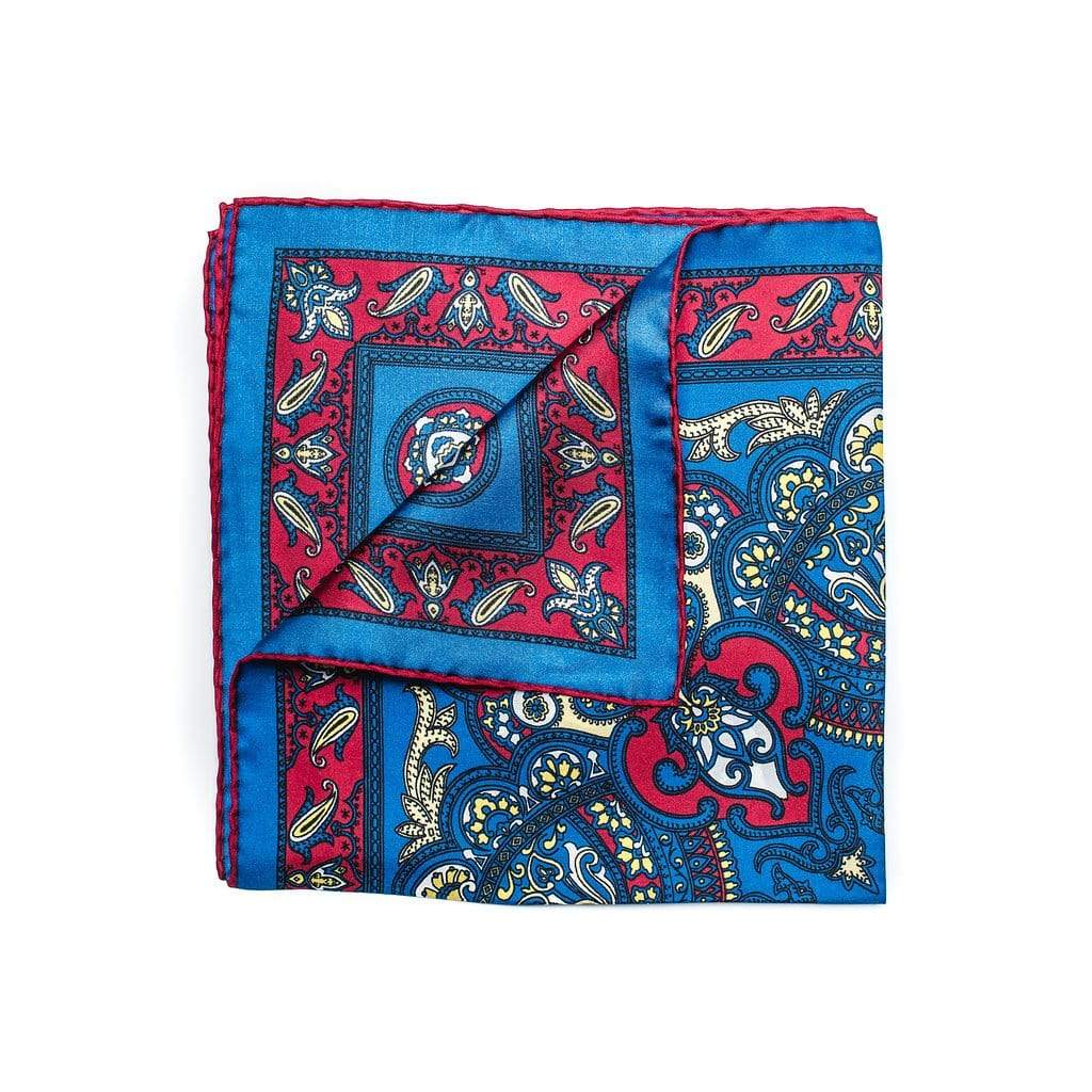 silk pocket square with primary blue with red and soft yellow paisley pattern