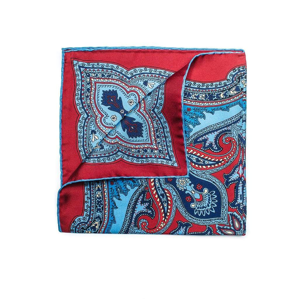 Men's Pocket Square | Lingo Luxe The Diplomat Red Paisley-Lingo Luxe Bespoke