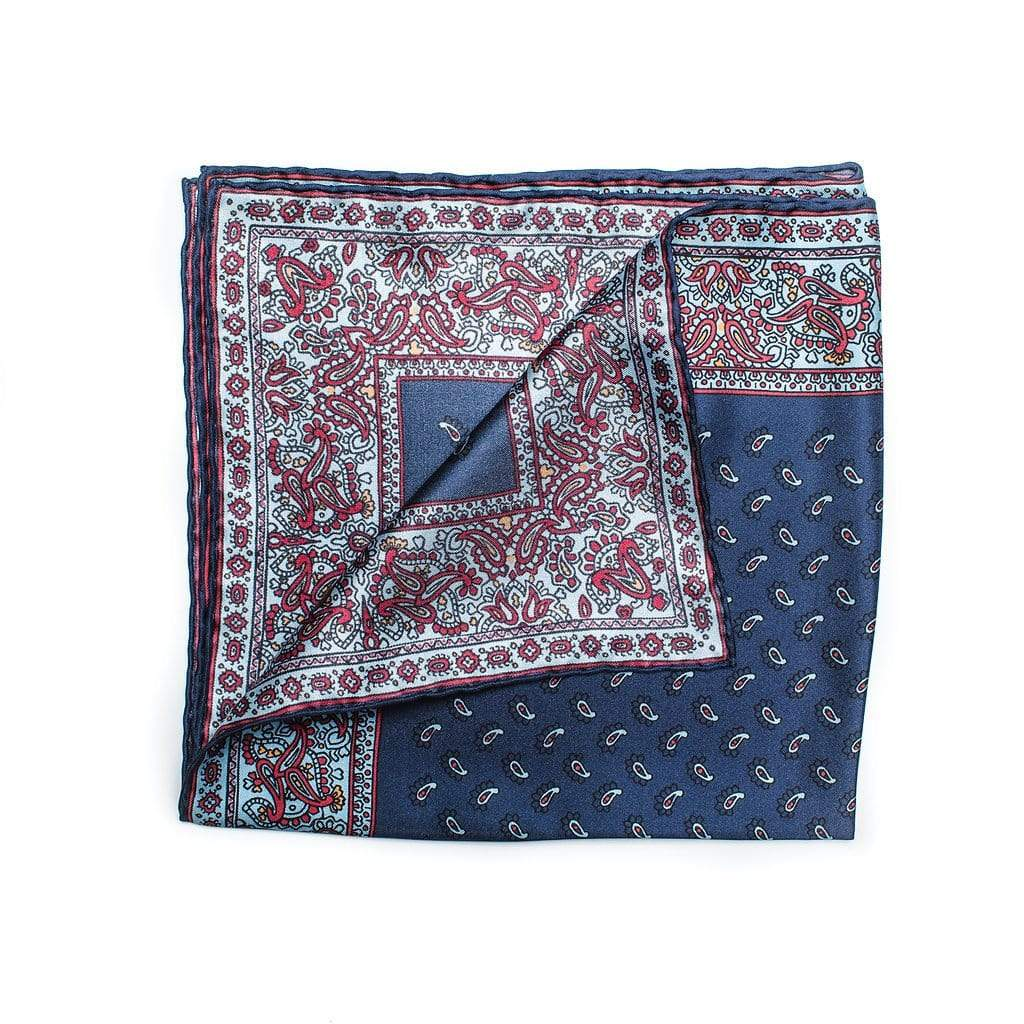 100% pure navy silk with sky blue and red edging round off this sartorially elegant accessory.