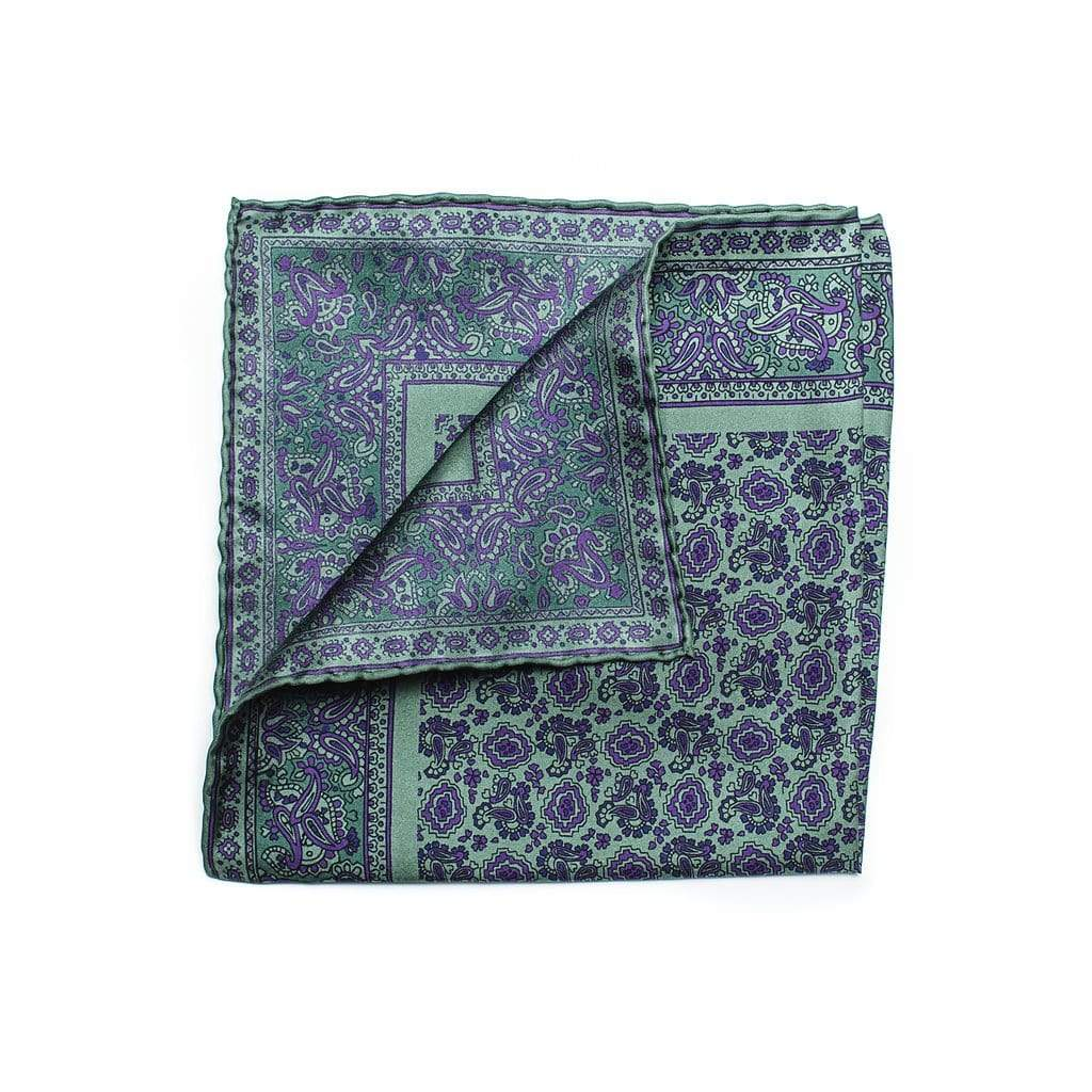 100% pure silk pocket square with micro floral paisley motif, edged with decorative paisley border pattern. Its sage green with purple paisley print and decorative edging creates curb appeal second to none.