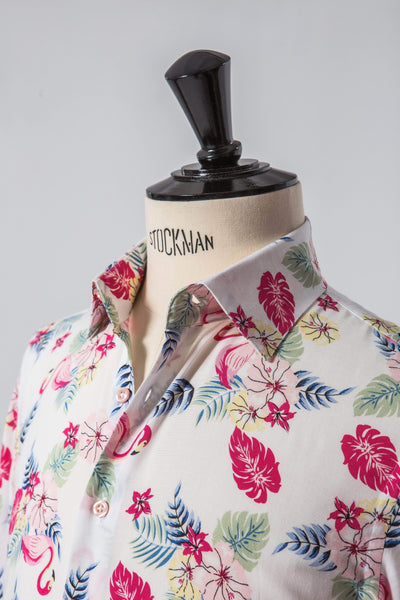Men's Short Sleeved Summer Shirt - Lingo Luxe Tropical Flamingo