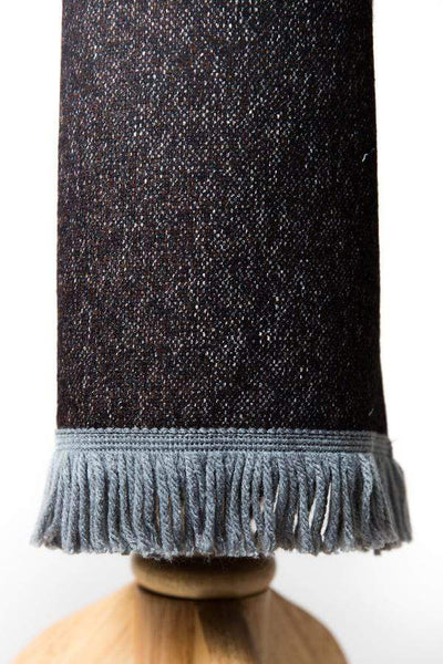 Mixed Yarn Brown Wool Scarf with Steel Blue and Grey-Lingo Luxe Bespoke