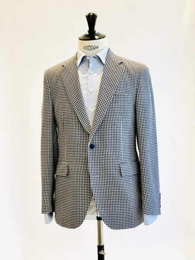 Navy and White Houndstooth Sports Jacket