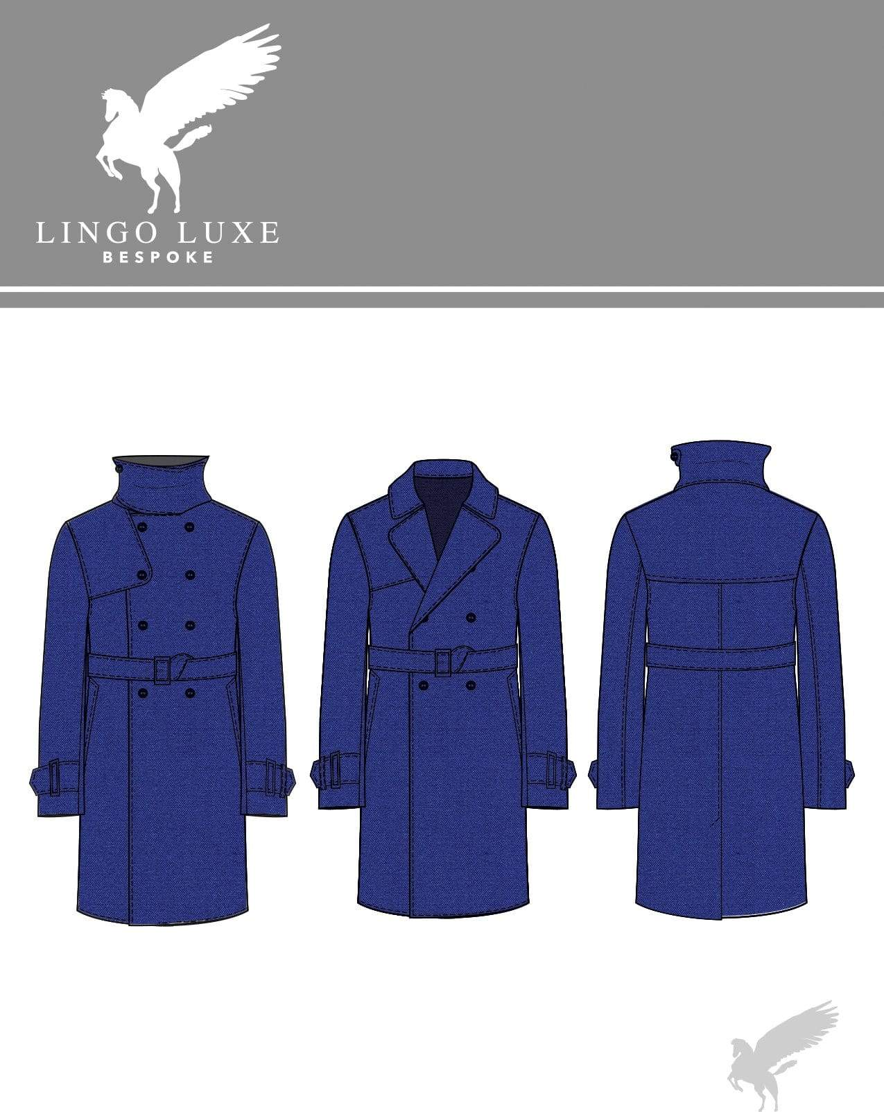 Outerwear | Lingo Luxe The London Trenchcoat | Electric Blue-Lingo Luxe Bespoke