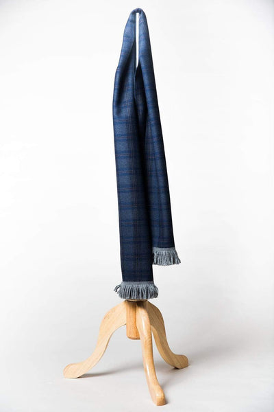 Steel Blue Tartan Wool Scarf with Blue and Burgundy-Lingo Luxe Bespoke