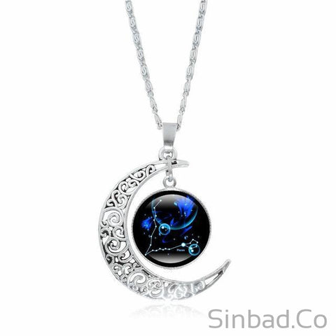 12 Constellation Glass Crescent Moon Pendant and Silver Chain-Sinbadco