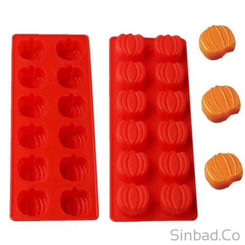 1Pc 12 Even Pumpkin Shape Silicone Cake Mold-cake mold-Sinbadco