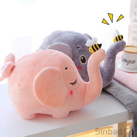 2 In 1 Plush Animal Soft Cushion Elephant Children Bedding Cover-Sinbadco