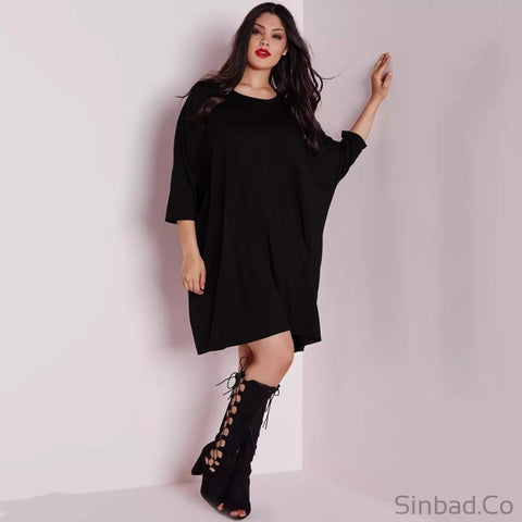 2017 Casual Brief Solid O-Neck Plus Size Dress-Dress-Sinbadco