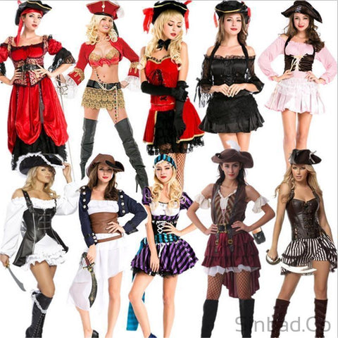 2017 High Quality Cosplay Buccaneer Women Pirate Dress-Sinbadco