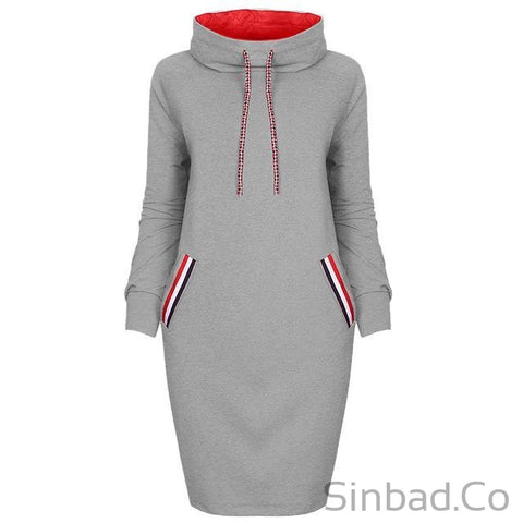 2018 Autumn Hoodie Drawstring Turtleneck Slim Dress-Sinbadco