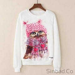 2018 Elastic Cartoon Animal Fruit Print Sweatshirt