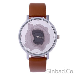 3D Face Wood Grain Dial Unisex Vintage Watch