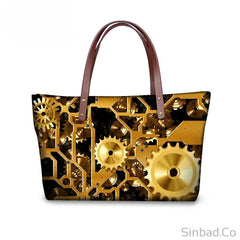 3D Gear Print Shoulder Tote