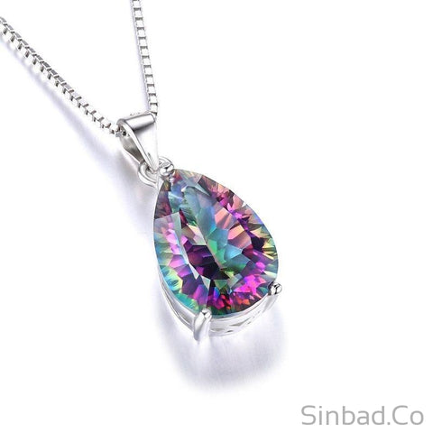 4 Carat Genuine Fire Mystic Topaz Pendant-Necklaces-Sinbadco