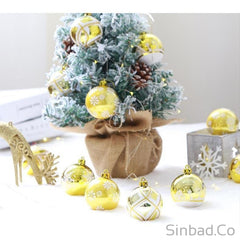 6pcs Upscale Platinum Gold Christmas Tree Balls