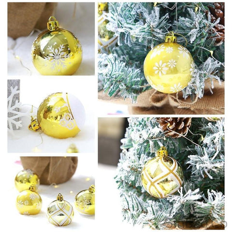 6pcs Upscale Platinum Gold Christmas Tree Balls-Sinbadco