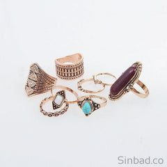 8 Pcs Bohemian Retro Ring Set