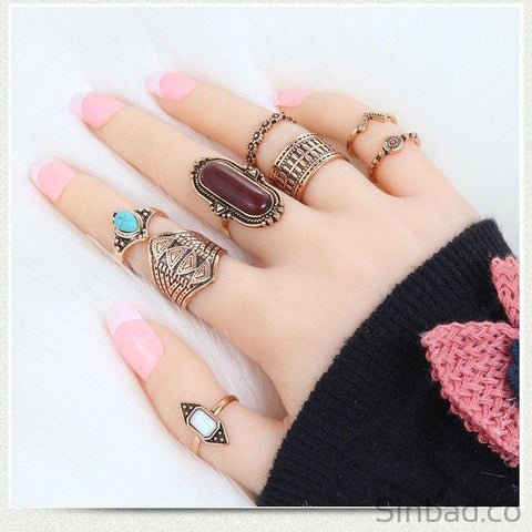 8 Pcs Bohemian Retro Ring Set-Rings-Sinbadco